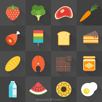 Alimentos mistura no design plano