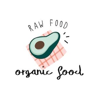 Alimentos orgânicos com um vetor de abacate