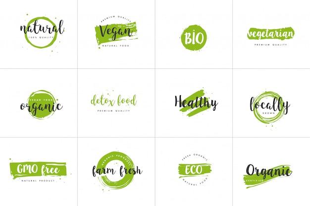 Alimentos orgânicos, conjunto de rótulos de produtos frescos e naturais da fazenda