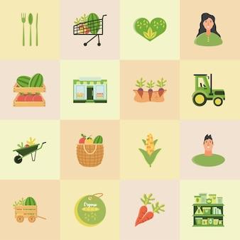 Alimentos orgânicos conjunto talheres, trator, cenouras, milho, frutas e, armazenar, ilustração vetorial