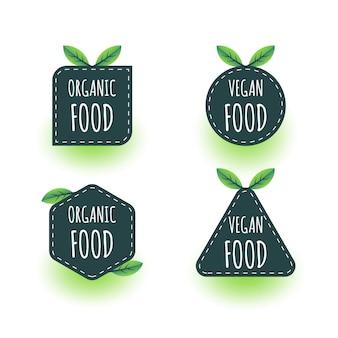 Alimentos orgânicos, design de rótulos de alimentos veganos