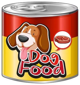 Alimentos para cães em alumínio com cachorro fofo no rótulo