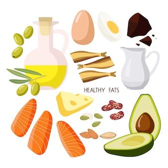 Alimentos que contêm gorduras saudáveis alimentos com alto teor de gordura isolados no branco azeite, abacate, frutos secos