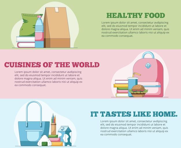 Alimentos saudáveis banners horizontais da web em estilo simples ilustração vetorial para cabeçalho do site