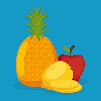 Alimentos saudáveis de frutas frescas de abacaxi e maçã