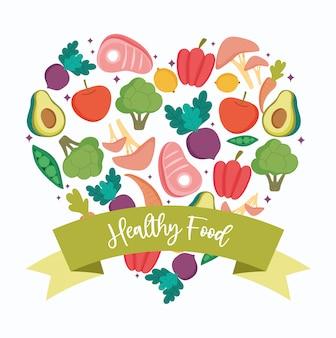 Alimentos saudáveis, frutas e legumes em forma de coração equilibram a dieta nutricional