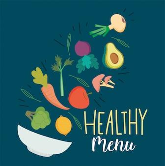 Alimentos saudáveis, frutas e legumes frescos, caindo na dieta de nutrição de tigela