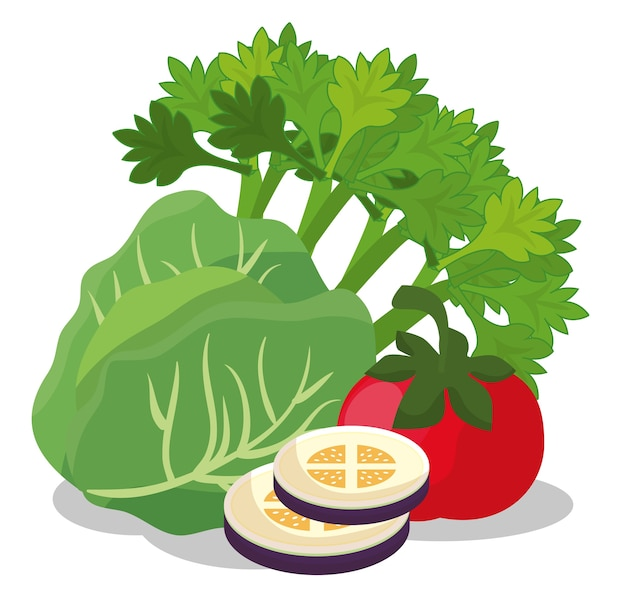 Alimentos saudáveis ícones veganos