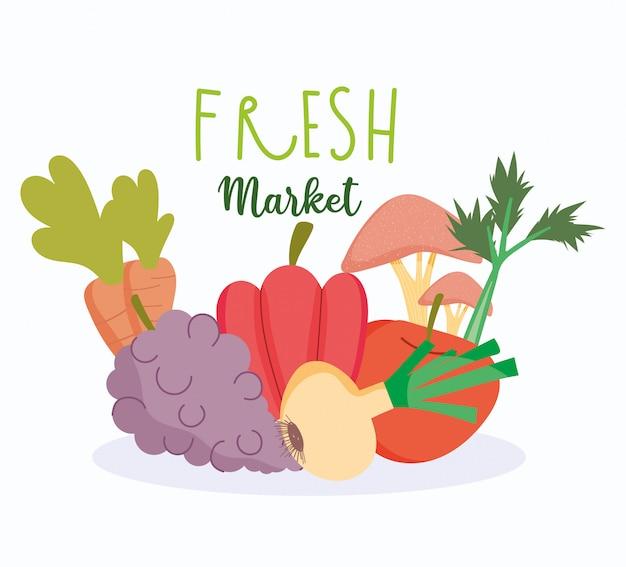 Alimentos saudáveis, legumes frescos e colheita de frutas equilibram dieta nutricional
