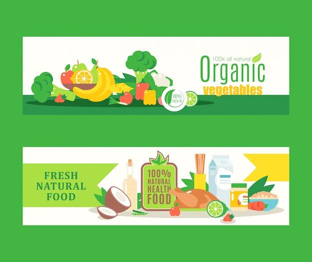 Alimentos saudáveis orgânicos de agricultores locais, produtos ecológicos frescos