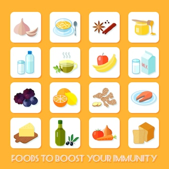 Alimentos saudáveis que impulsionam seus ícones de imunidade plana conjunto isolado ilustração vetorial