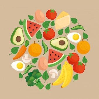 Alimentos saudáveis, vegetais e frutas em moldura redonda