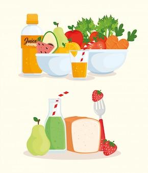 Alimentos saudáveis, vegetais, frutas, pão e sucos engarrafados