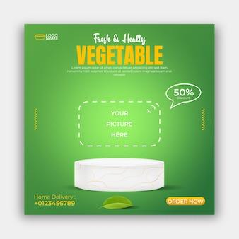 Alimentos saudáveis, vegetais, redes sociais, pós, banner, modelo, de, anúncios, ilustração 3d, vetorial