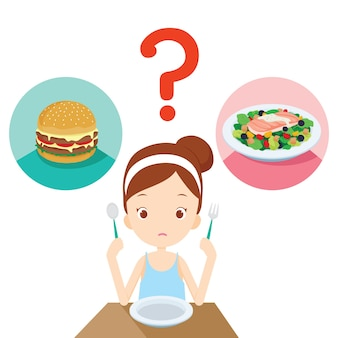 Alimentos úteis e inúteis, pergunta para uma garota que está escolhendo comer