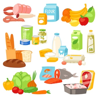 Alimentos variedade variedade de legumes ou frutas e peixe ou salsichas de supermercado