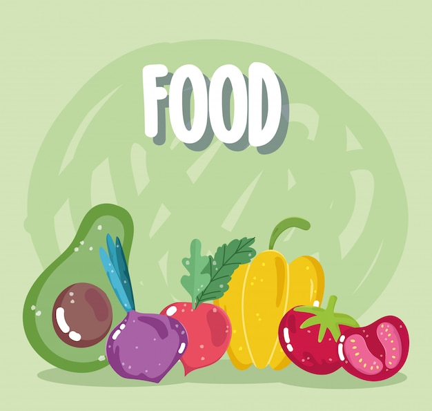 Alimentos vegetais abacate rabanete beterraba pimenta tomate menu dieta fresca ingrediente ilustração