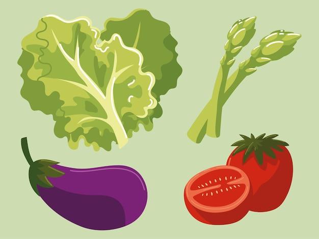 Alimentos vegetais, berinjela, tomate, alface