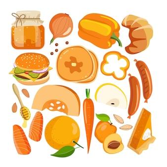 Alimentos vetoriais de cor laranja legumes, frutas e outros alimentos em branco benefícios da cor da cromoterapia