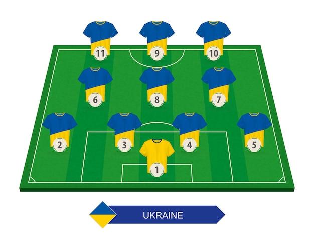 Alinhamento da seleção ucraniana de futebol no campo de futebol para as competições europeias de futebol