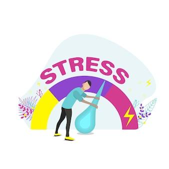 Aliviar estresse. sobrecarga emocional e conceito de esgotamento. ilustração em vetor plana.