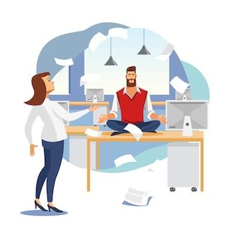 Alívio do estresse no conceito de vetor plana de trabalho de escritório