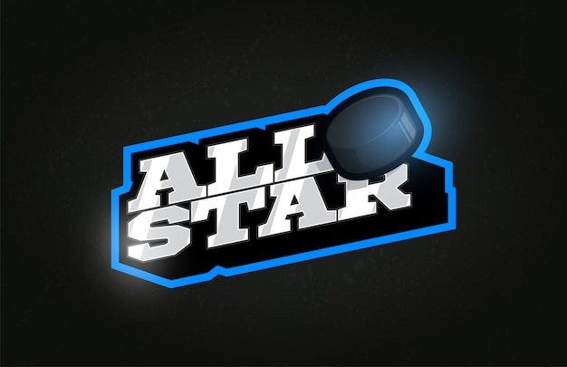 All star moderno profissional tipografia hóquei esporte estilo retro emblema logotipo.