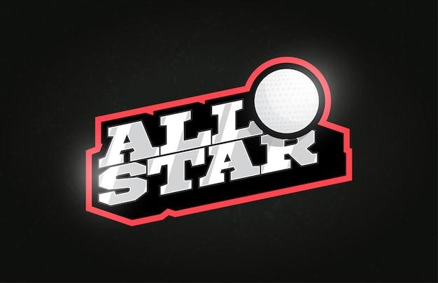 All star tipografia profissional moderna bola de golfe esporte estilo retro vector brasão de armas e design de logotipo.