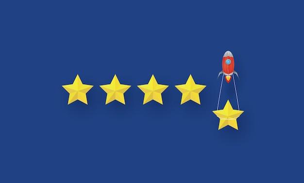 Almoço de foguete com estrela pendurada, atingindo metas, negócios de inspiração de conceito, competição de negócios