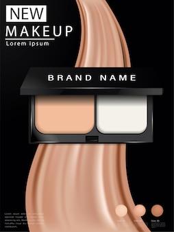 Almofada anúncios de base compactos, maquiagem atraente