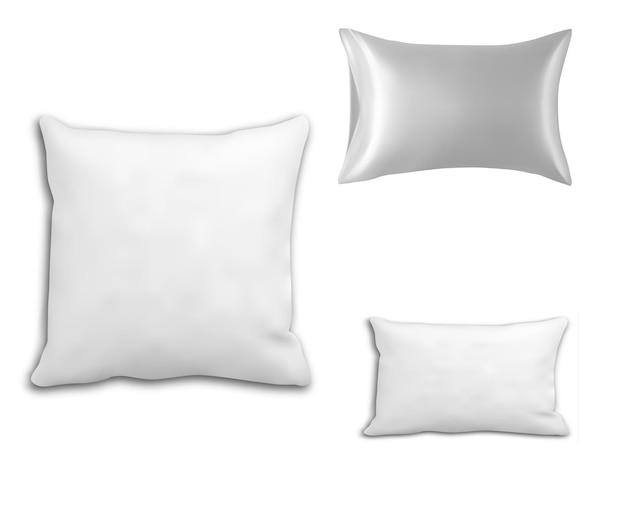 Almofada de cama retangular isolada em fundo branco