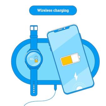 Almofada de carregamento sem fio com telefone celular e relógio inteligente.