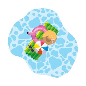 Almofada de flutuar de verão com balão e chapéu flutuando na piscina