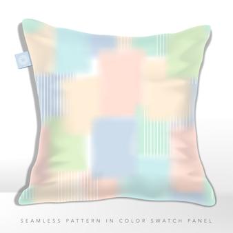 Almofada de pintura abstrata iridescente sobreposta de cores do arco-íris multi pastel