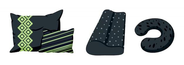 Almofada preta com padrão decorativo, estilo cartoon plana. têxtil interior. almofada de viagem, ortopédica ou macia