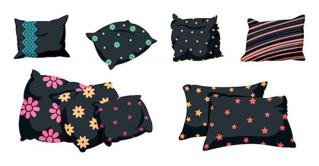 Almofada preta conjunto com padrão decorativo, estilo cartoon plana. almofada quadrada clássica escura com padrões. têxteis para o lar