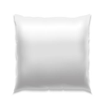 Almofada quadrada branca em branco realista para dormir