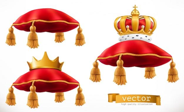 Almofada real e coroa. conjunto 3d