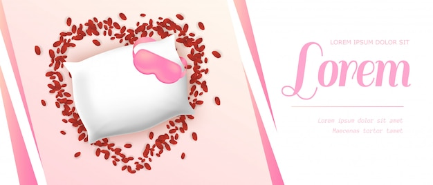 Almofada retangular macia branca com venda rosa
