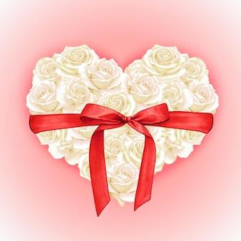 Almofada rosa elegante em aquarela em forma de coração com laço de seda