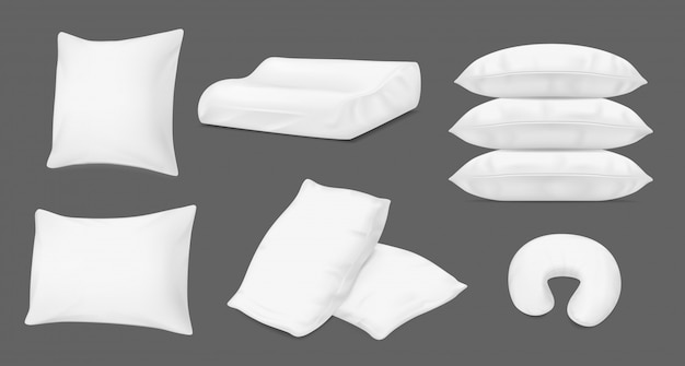 Almofadas brancas realistas, almofadas de cama ortopédicas