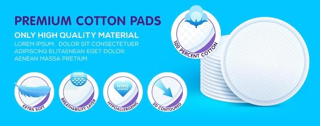 Almofadas cosméticas de algodão hipoalergênico premium em camadas, que oferecem excelentes cuidados com a pele