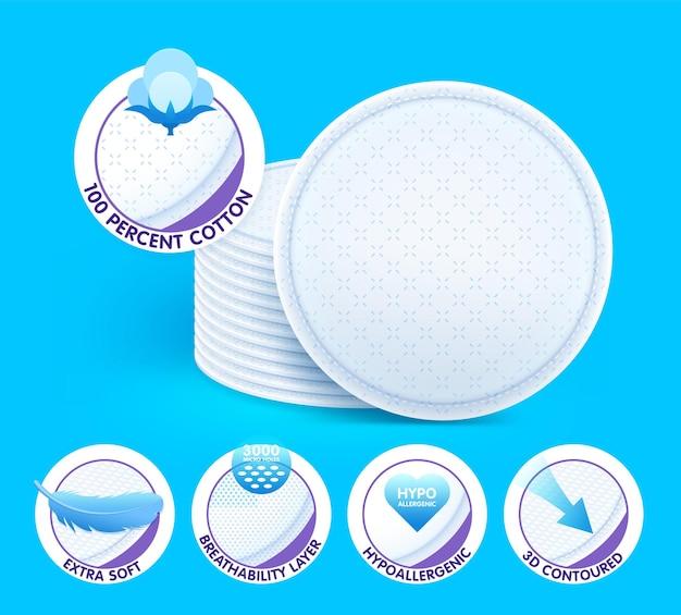 Almofadas de algodão cosmético extra macio em camadas, oferecendo excelentes cuidados para a pele não irritantes