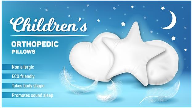 Almofadas ortopédicas crianças promo banner vector