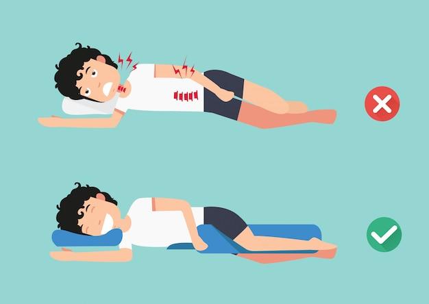 Almofadas ortopédicas, para um sono confortável e uma postura saudável, melhores e piores posições para dormir, ilustração