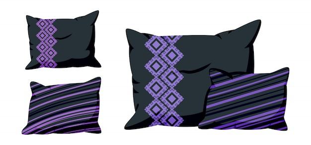 Almofadas pretas, plana dos desenhos animados com padrão decorativo. almofada quadrada elegante escura, para cama, sofá