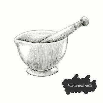Almofariz e pilão mão desenho estilo de gravura