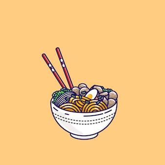 Almôndega de estilo indonésio com ilustração de macarrão. ilustração de bakso da indonésia.