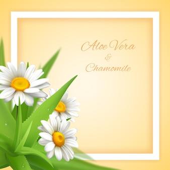 Aloe vera com texto ornamentado editável de moldura quadrada decorativa e plantas e flores