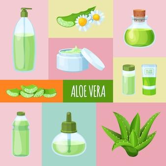 Aloe vera perfumes, creme, sabão, grama, banner de folha e ícone para web.